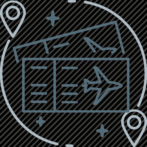 airplane, pin, plane, ticket, travel, trip icon