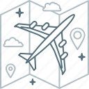 airplane, map, pin, plane, travel, trip icon