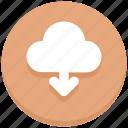 arrow, cloud, down, download icon