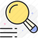 search, text, reading, define, loupe icon