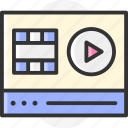 video player, multimedia, movie, video, play button icon