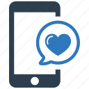 bubble, chat, heart, love, message, romance icon
