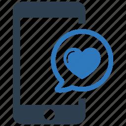 bubble, chat, heart, love, message, romance icon