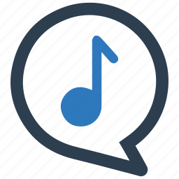 music, musical note, speech bubble, upload song icon