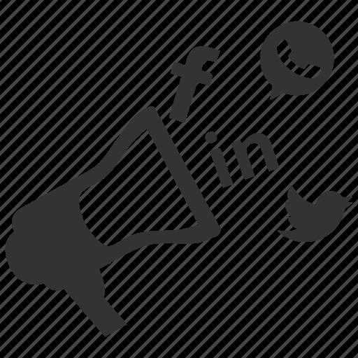 bullhorn, communication, internet marketing, online advertising, promoting, viral marketing icon