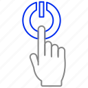 click, finger, hand, power, start, touch icon