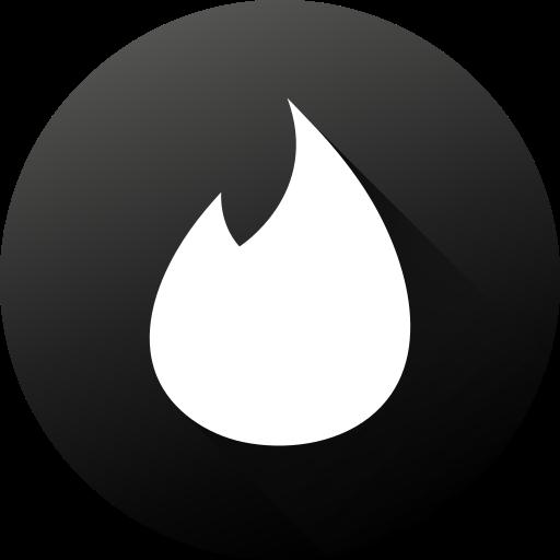 black white, circle, high quality, long shadow, social, social media, tinder icon