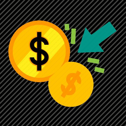 cash, dollars, flow, income, monet, profit, revenue icon