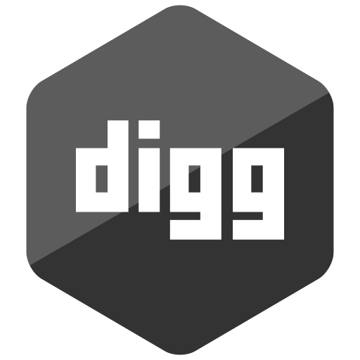 colored, digg, hexagon, high quality, media, social, social media icon
