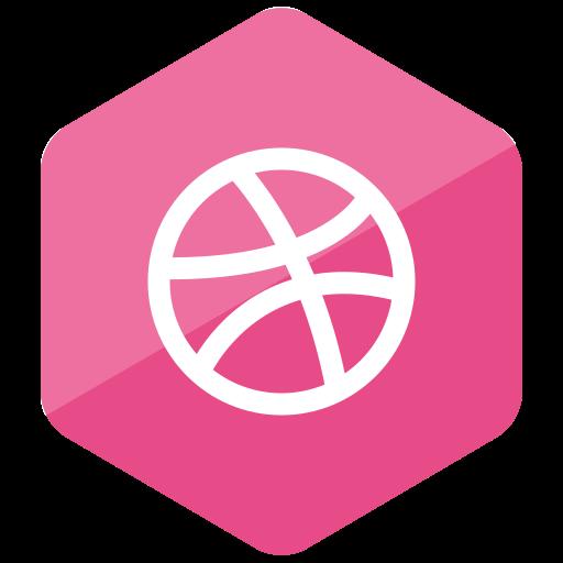 colored, dribbble, hexagon, high quality, media, social, social media icon