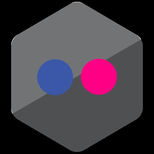 colored, flickr, hexagon, high quality, media, social, social media icon