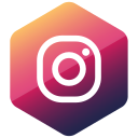 colored, hexagon, high quality, instagram, media, social, social media icon