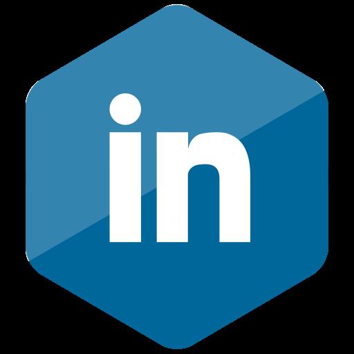 colored, hexagon, high quality, linkedin, media, social, social media icon