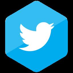 colored, hexagon, high quality, media, social, social media, twitter icon