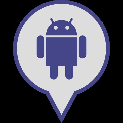 android, logo, media, pin, social icon