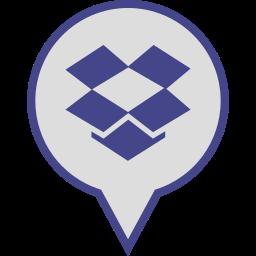 dropbox, logo, media, pin, social icon