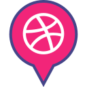dribbble, logo, media, pin, social icon