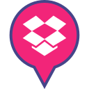 dropbox, logo, media, pin, social icon