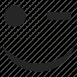 emoticons, happy, smiley, wink, winking icon