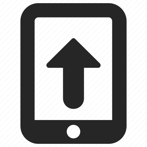 android, device, iphone, mobile, phone, uploadarrow icon
