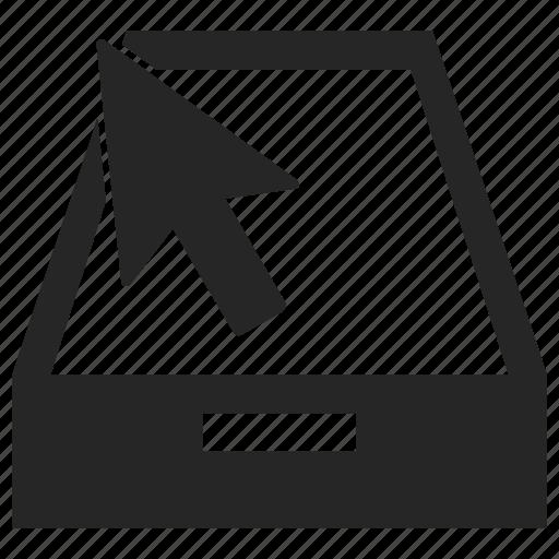 arrow, cursor, disk, up, upload icon