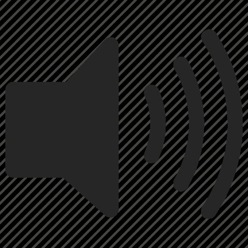 high, loud, music, on, sound, speaker, volume icon