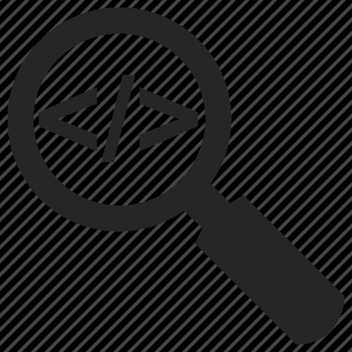 code, inspect, marketing, markup, search, seo icon