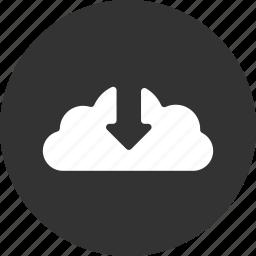 arrow, cloud, control, down, download icon
