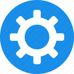 blue, circle, cog, customize, gear, preferences icon