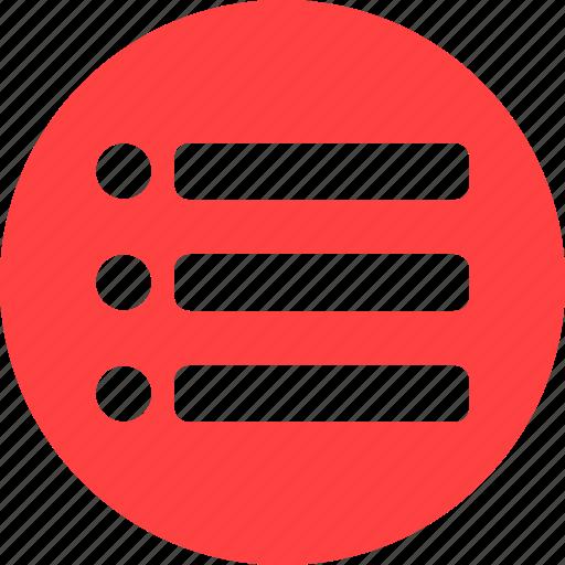 checklist, circle, feed, list, playlist, red, tasks icon