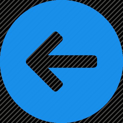 arrow, back, blue, circle, left, previous, west icon