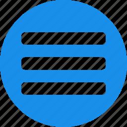 blue, circle, hamburger, list, menu, options icon