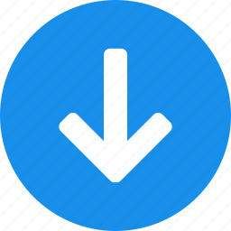 arrow, blue, circle, descend, down, downward icon