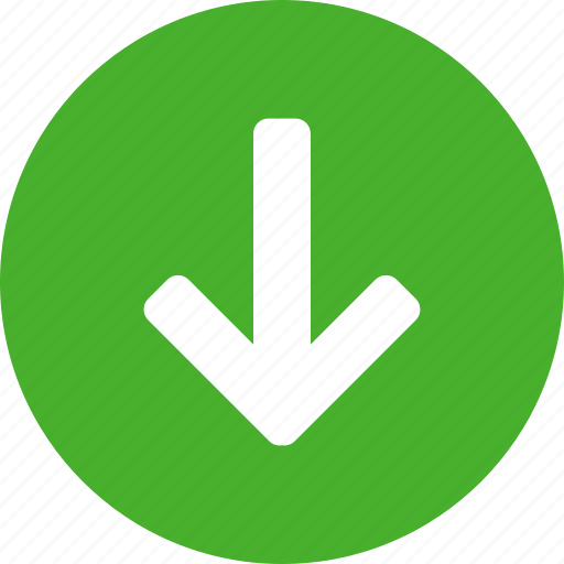 arrow, circle, descend, down, downward, green icon