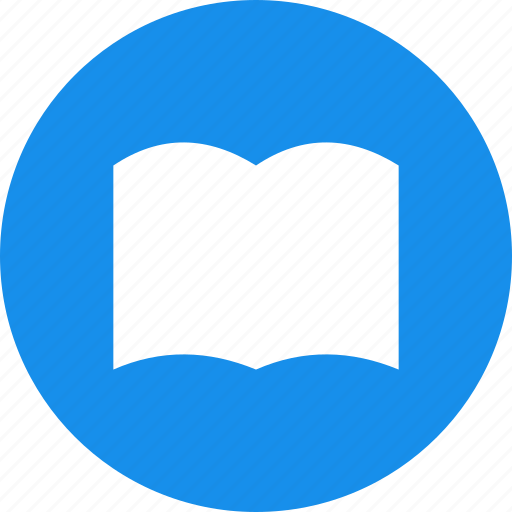 blue, book, bookmark, circle, learn, library, read icon