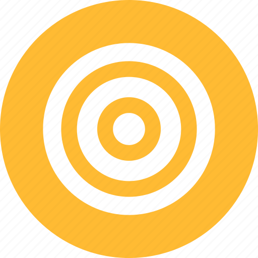 aim, bullseye, efficiency, goal, marketing, yellow icon