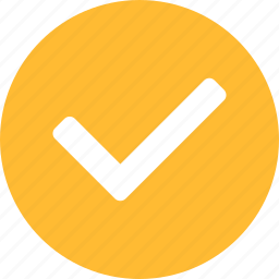 approved, check, checkbox, circle, confirm, sure, yellow icon