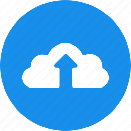 backup, blue, circle, cloud, ftp, storage, upload icon