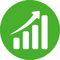 chart, circle, graph, green, revenue growth icon