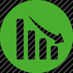 analytics, circle, decline, down, financial, green icon