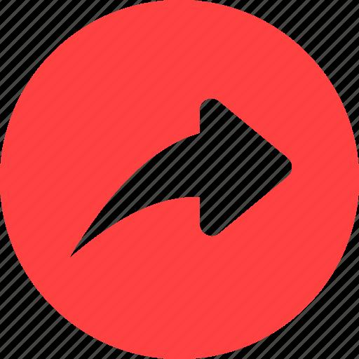 arrow, circle, next, red, reply, respond icon