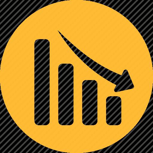 analytics, circle, decline, down, financial, yellow icon
