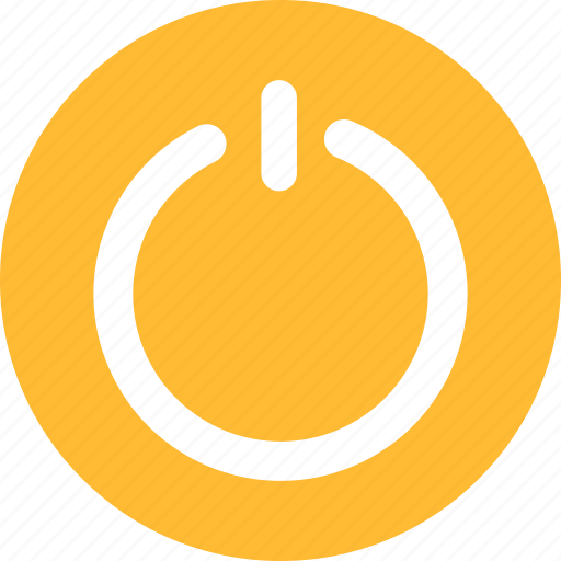 circle, close, exit, off, power, yellow icon