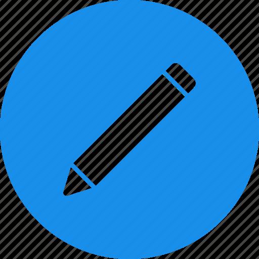blue, circle, compose, draw, edit, pencil icon