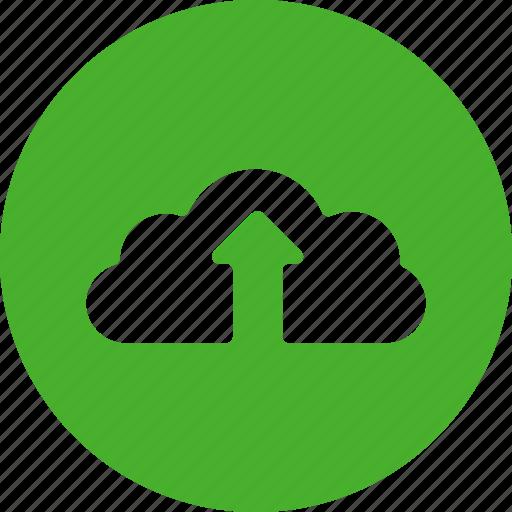 backup, blue, circle, cloud, ftp, storage, upload icon