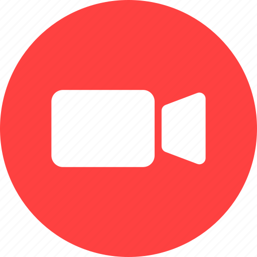 circle, movie, red, ui, video, video camera icon