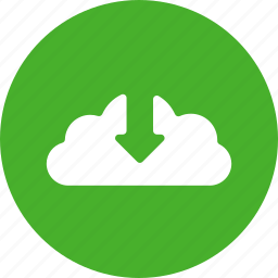 arrow, circle, control, down, download, green icon