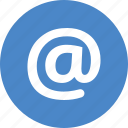 @, at, circle, electronic, email, mail, sign icon