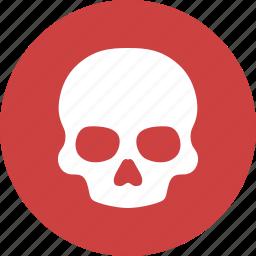 danger, death, pirate, poison, skeleton, skull, warning icon