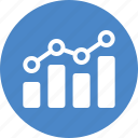 analytics, blue, chart, circle, earnings, finance, stock market icon